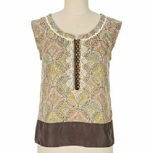 Anthropologie Floreat Crackling Plaster Blouse